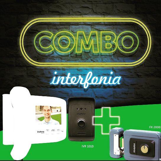 Combo vídeo porteiro IVR1010+ fechadura elétrica FX2000