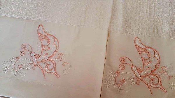 Jogo de toalha com aplique Percal 200 Fios Importado Bordado Borboleta – Enxovart