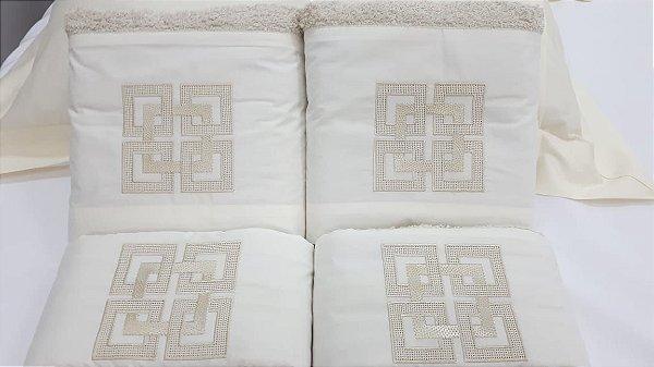 Jogo de toalha com aplique 400 Fios Egípcios Bordado Geométrico – Enxovart