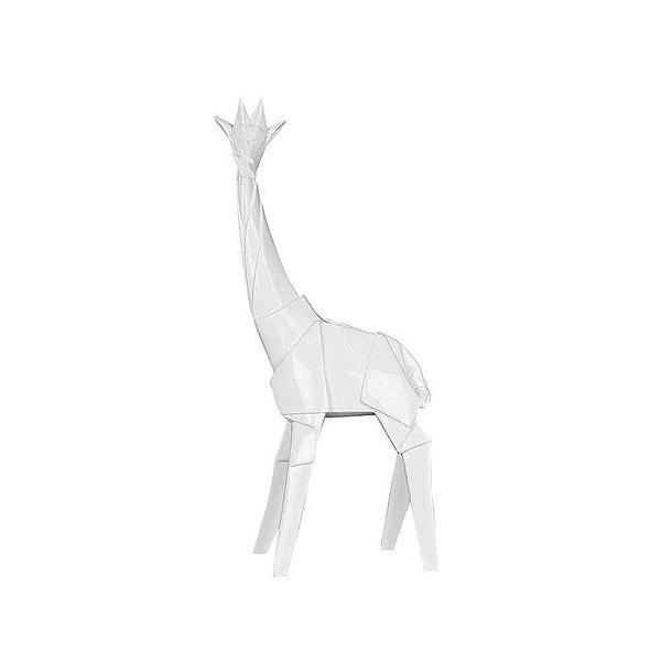 Estatueta em Resina Origami Giraffe Branco G 20X52,5CM