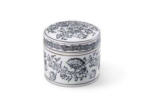 Caixa Cerâmica Decorativa Redonda Preto e Branco 12X10CM
