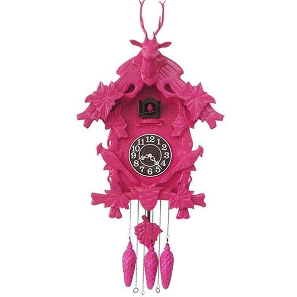 Relógio de Parede em Madeira Cuckoo Pink 65X60X16,5CM