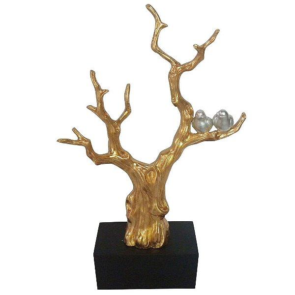 Escultura Cerâmica Tree With Birds Dourada 47X76X16CM
