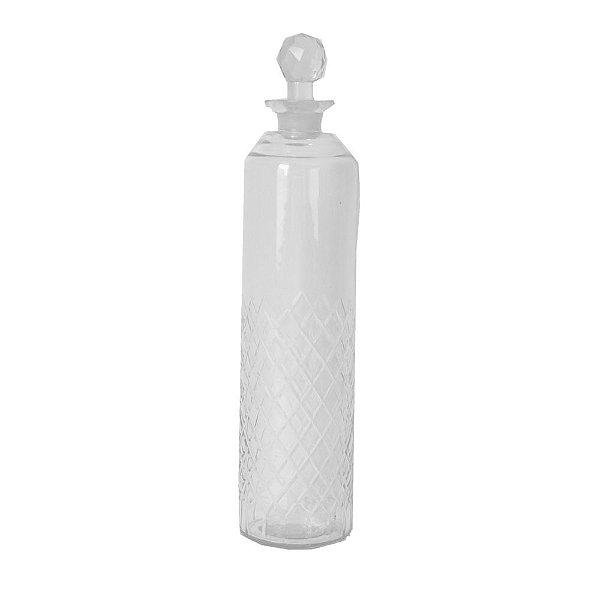 Garrafa Transparente de Vidro Decorativa 7,5CM X 33,5CM