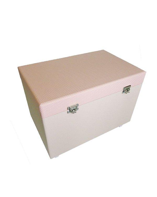 Caixa Baú de Madeira em Tecido Rosa