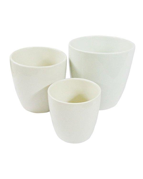 Conjunto de Vasos de Cerâmica Redondo com 3