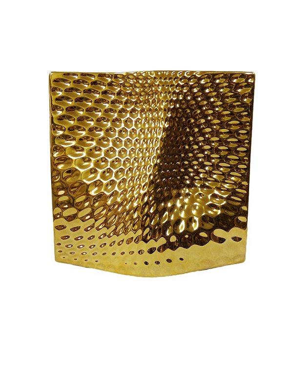 Vaso de Cerâmica Mathelado Dourado 30cm
