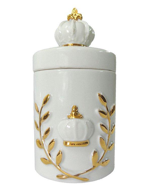 Pote em Porcelana Brasão Coroa P 9x18cm