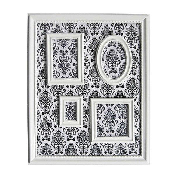 Quadro Magnético de Plástico Porta Retratos Barroque Frame Branco 46,5x56,5cm