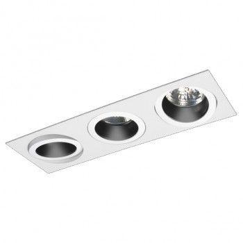 Luminária Retangular Embutir Foco Triplo Recuado Direcional 11x33cm E27