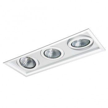 Luminária Retangular Embutir Recuada Foco Triplo Direcional 18,5x50cm