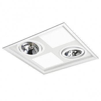 Luminária Quadrada Embutir Híbrida 34,5x34,5cm 4xE27 2xAR111
