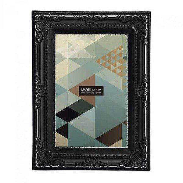 Porta Retrato Retangular Mart Collection 10x15cm Preto Antique