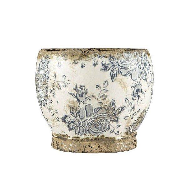 Cachepô Floral em Cerâmica Mart Collection Bege