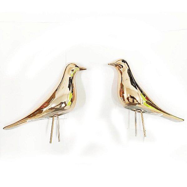 Kit Pássaro Rose Gold em Cerâmica - Mart 9522