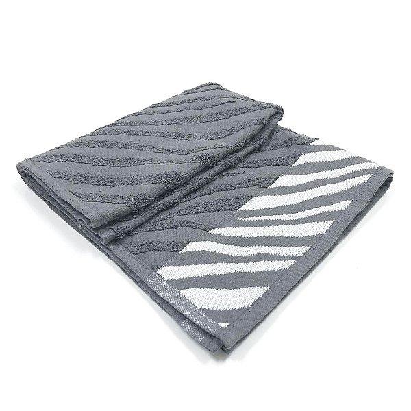 Toalha De Rosto Safari - Cor Cinza c/ detalhe Branco 47x77 cm