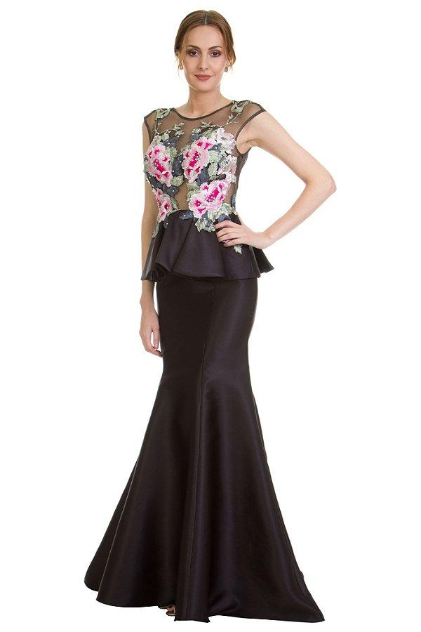Vestido em Zibeline com bordado floral