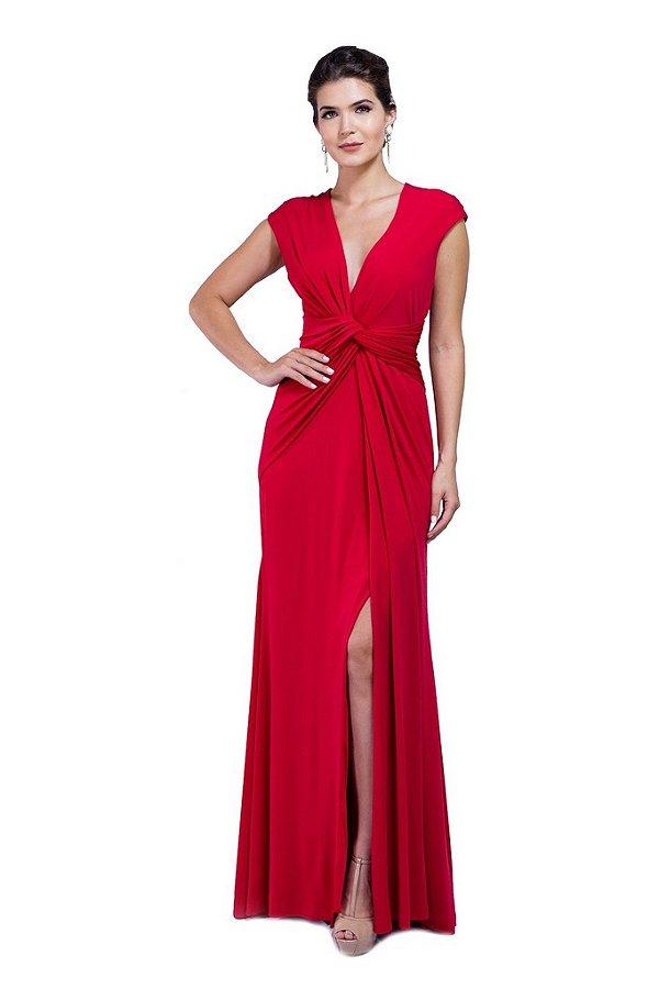 Vestido Longo Frente Torcida Vermelho