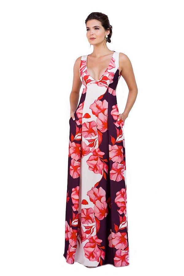 Vestido Longo com Bolso Estampa Aquarela
