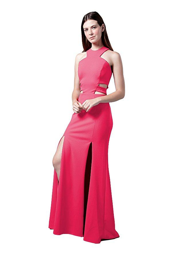 Vestido longo em crepe  cintura vazada pink