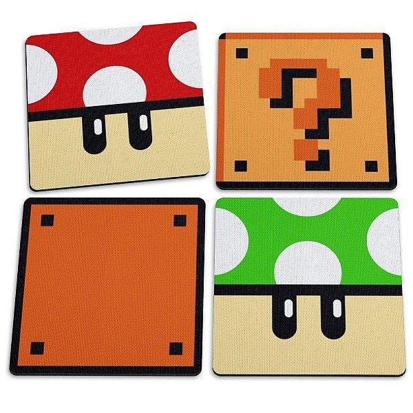 Jogo de Porta Copos Mushroons e Blocos (Mario World Game) - 4 peças