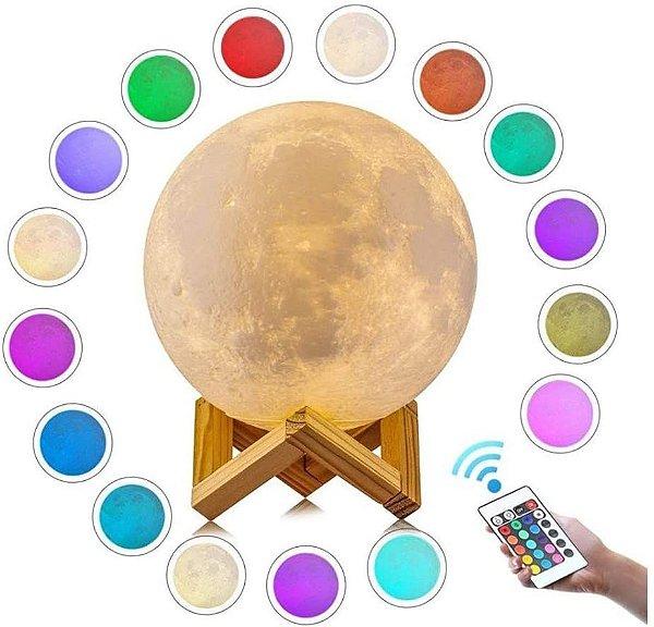 Luminária Abajur Lua Cheia 3D RGB com Controle remoto - colorida