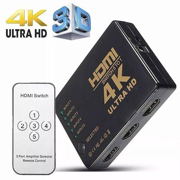 Switch HDMI/HDTV 5X1 Ultra HD 4K c/ Controle