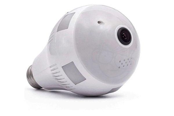 Camera Lâmpada HD IP Wifi c/ LED 360° Panorâmica V380