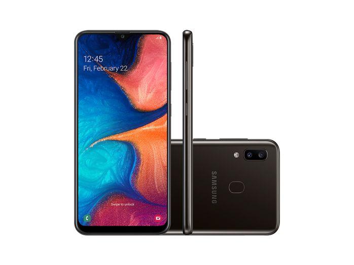 """Smartphone Samsung A20 32GB, A205G/32DL, Câmera traseira Dupla 13 MP + 5 MP Frontal 8 MP Tela 6.4 """", RAM 3GB - Preto"""