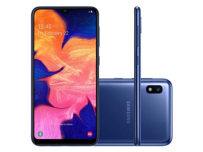 """Smartphone Samsung A10 32GB, A105M/32DL, Dual Chip, Câmera traseira 13 MP + 5 MP Frontal 8 MP Tela 6.2 """", RAM 2GB - Azul"""