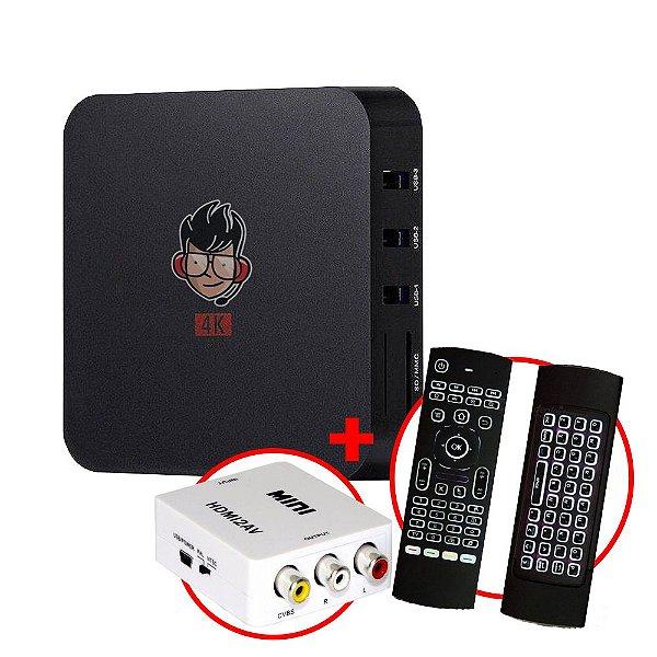 Kit TV Box MXQ Pro 4K Android 8.1 + Teclado Air Mouse LED IR + Adaptador HDMI / RCA AV