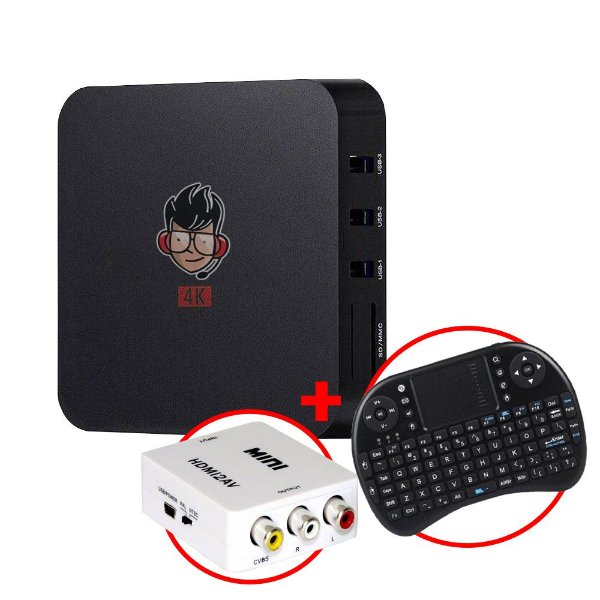 Kit TV Box MXQ Pro 4K Android 8.1 + Mini Teclado sem fio c/ Touchpad + Adaptador HDMI / RCA AV