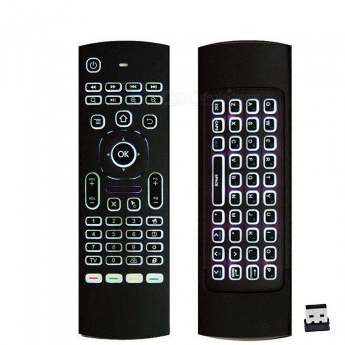 Controle Remoto universal c/ Teclado LED Air Mouse e IR + Pilhas AAA