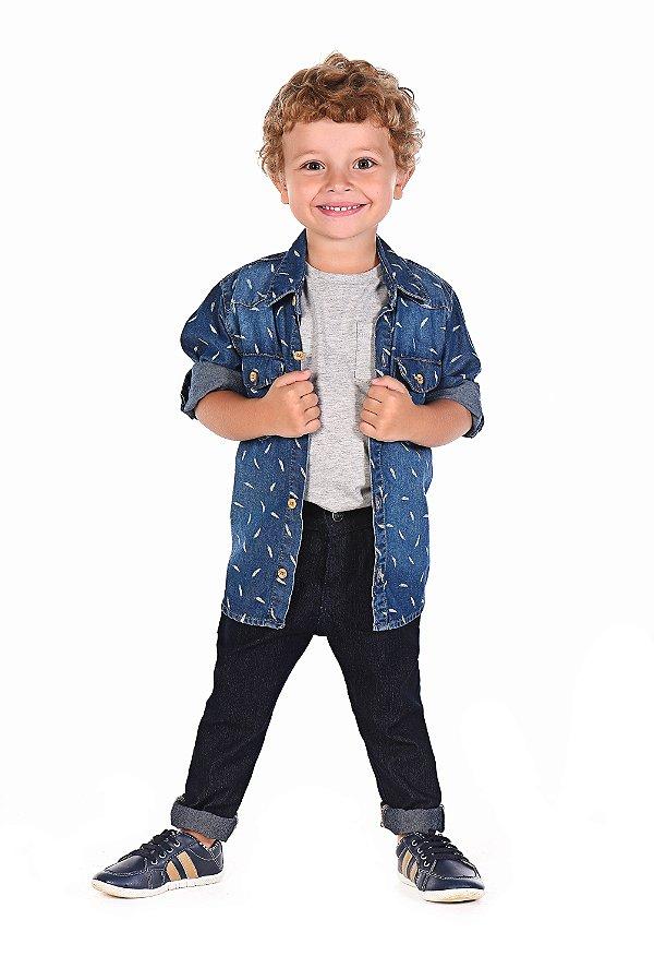ddae09f212 Camisa Jeans Estampada Manga Longa Menino Mania Kids - bebebrincar ...