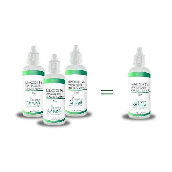 Minoxidil a 5% - Queda Capilar e Alopécia - Compre 3 e leve 4 frascos