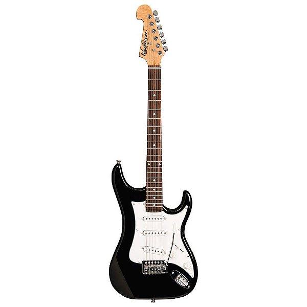 Guitarra Washburn S1B preta com headstock invertido e captacao S/S/S