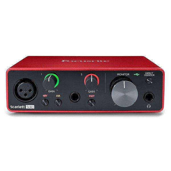 Interface de Áudio USB Focusrite Scarlett Solo 3ª Geração c/ 2 in/2 out
