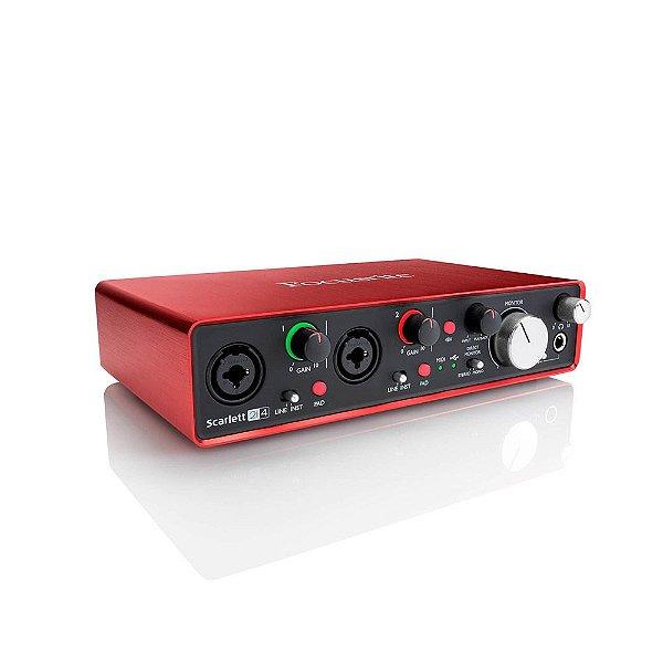Interface de Áudio USB Focusrite Scarlett 2i4 3ª Geração c/ 2 in/4 out