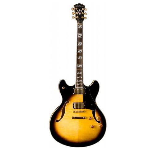 Guitarra Semi Acústica Washburn HB35TS Tobacco Sunburst com Case