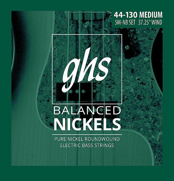 Encordoamento para Contrabaixo GHS 5M-NB Medium (Escala Longa) Série Balanced Nickels (contém 5 cordas)