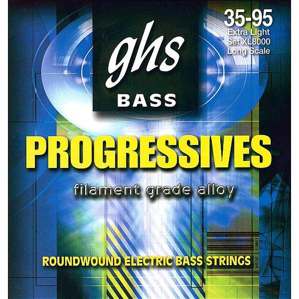 Encordoamento para Contrabaixo GHS XL8000 Extra Light (Escala Longa) Série Bass Progressives (contém 4 cordas)