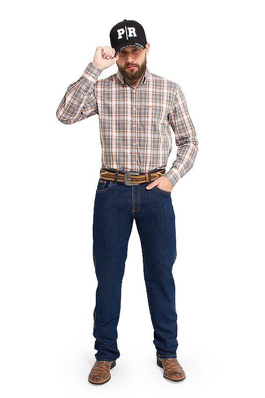 Calça Jeans Masculina Country com Elastano Pura Raça Azul Escuro 4526