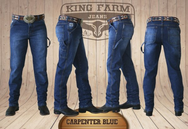 Calça Jeans Masculina Country Blue Carpinteira King Farm
