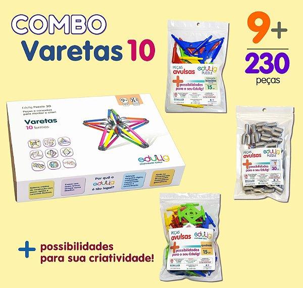 Combo Varetas 10 + Quadrados + Triângulos Isósceles + Conexões Y