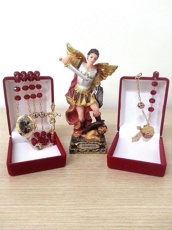 Terço Relicário São Miguel e Dezena em Forma de Pulseira Imagem 12cm