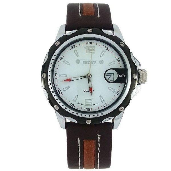 a038c4cc202 Relógio Masculino Analógico Skone 9117B Marrom e Branco ...