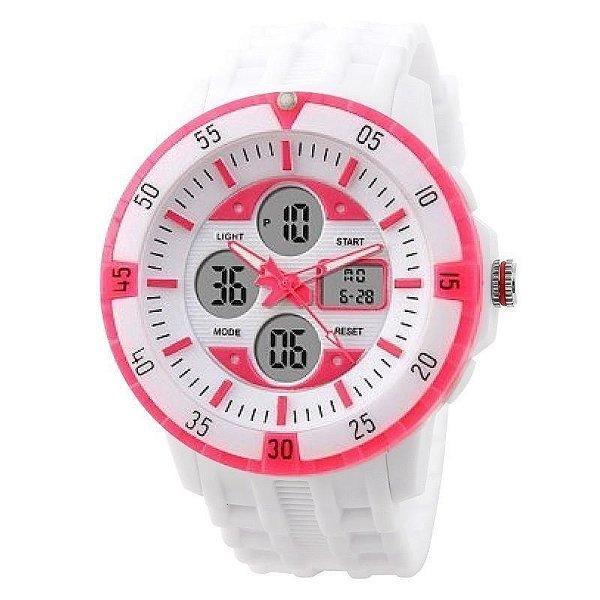 6925e016b2f Relógio Skmei Anadigi 1046 Branco e Rosa - ShopSublime - Aqui tem o ...