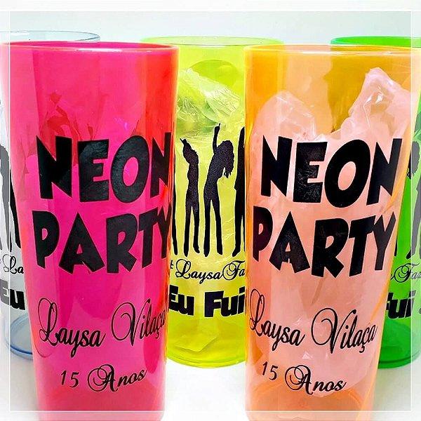 Copos Neon 350mL Estampado Arte Neon Party