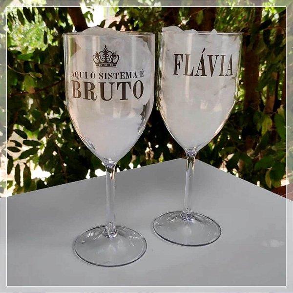 Taças de Vinho em Acrílico 350mL Personalizada
