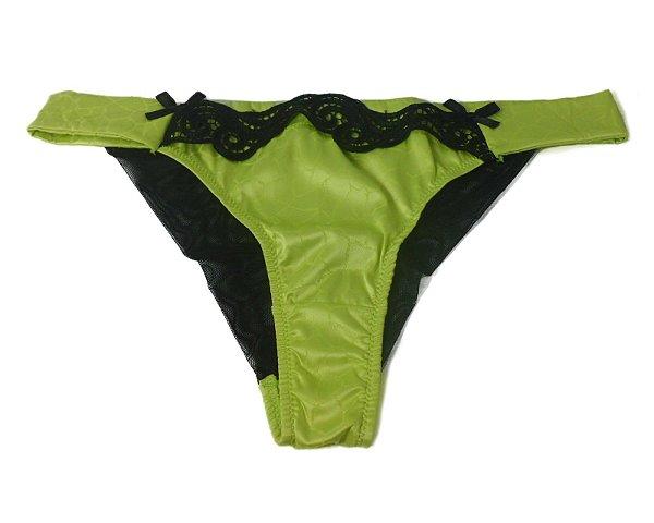 Calcinha Boneca Verde-Limão de Cetim  com Tule e Renda